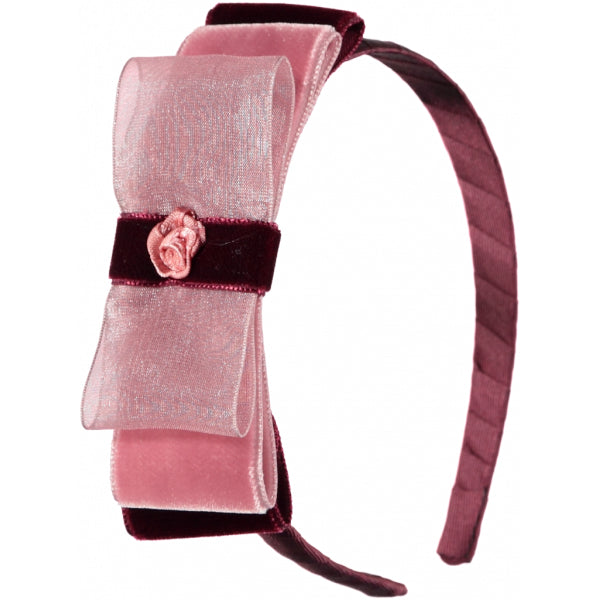 Girls Hairband Bordeaux and Pink