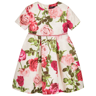 Girls Ivory Dress with Roses