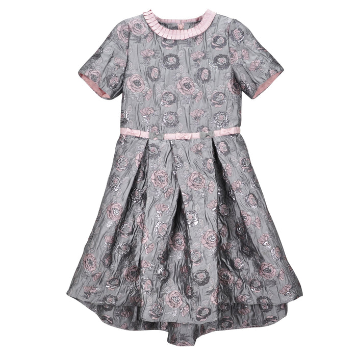 Piccola Speranza Grey Embroidered Dress with Pleated Collar at BOYS & GIRLS ONLINE
