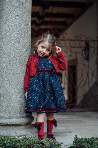 Piccola Speranza Navy Dress with Bordeaux Accessories at BOYS & GIRLS ONLINE