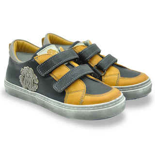 Black & Yellow Leather Logo Trainers