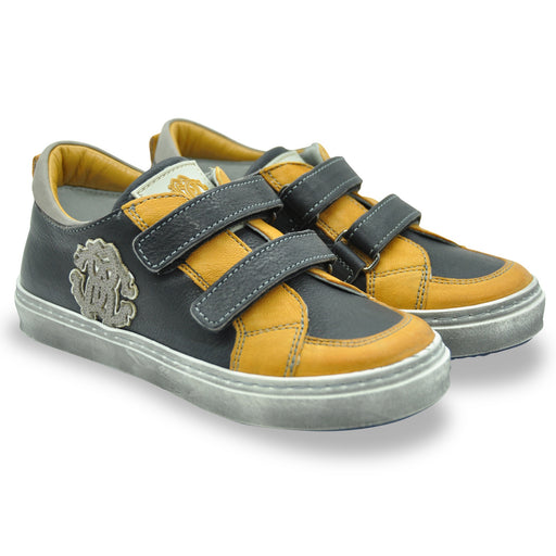 Roberto Cavalli - Black & Yellow Leather Logo Trainers - Kids clothing at BOYS & GIRLS ONLINE
