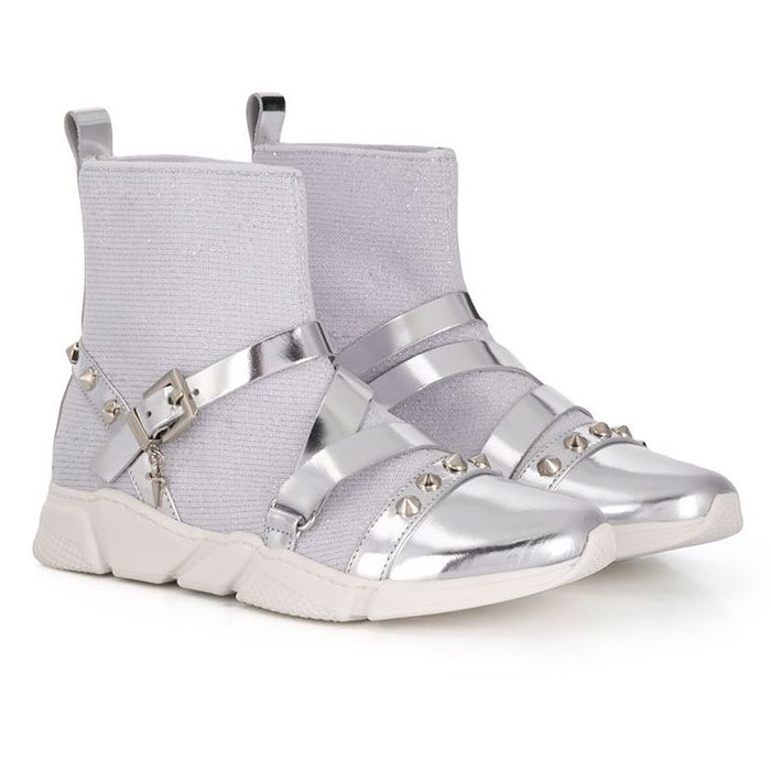 Cesare Paciotti Girls Silver Trainers with Studs - Kids clothes online | BOYS & GIRLS ONLINE