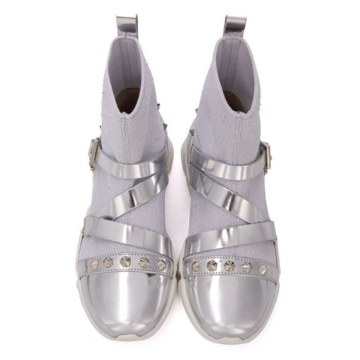 Cesare Paciotti-Girls Silver Trainers with Studs-boysgirlsonline.com