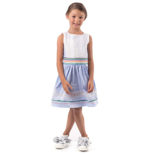 Girls Blue & White Cotton Dress