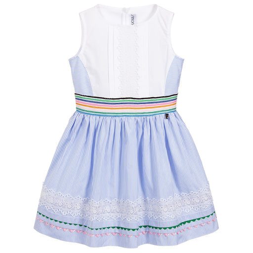 Simonetta - Girls Blue & White Cotton Dress - Kids clothing at BOYS & GIRLS ONLINE