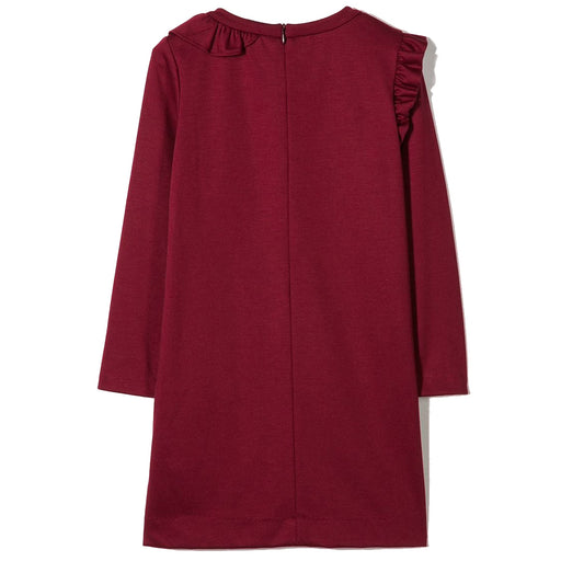 Girls Burgundy Face Embroidered Dress