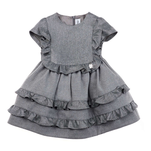 Girls Grey Glitter Flared Princess Dress