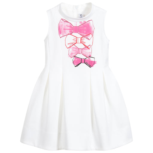 Simonetta Girls Ivory Cotton Neoprene Dress - Kids clothes online | BOYS & GIRLS ONLINE