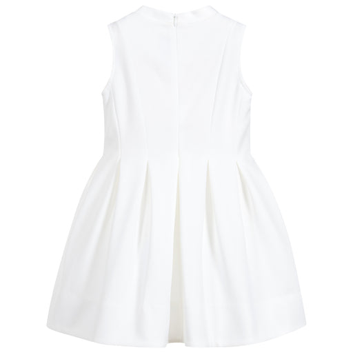 Girls Ivory Cotton Neoprene Dress