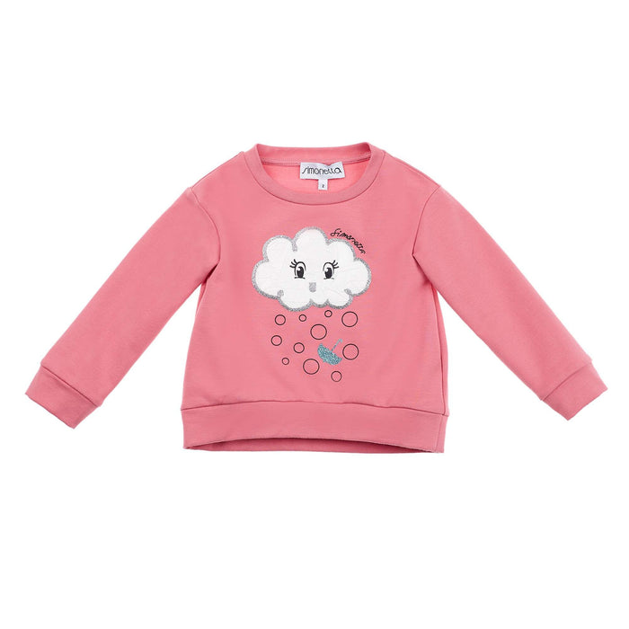 Simonetta-Girls Pink Cotton Cloud Print Sweatshirt-boysgirlsonline.com