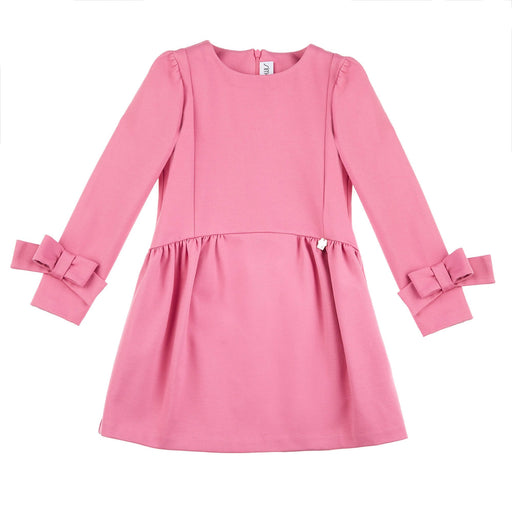 Simonetta Girls Pink Long-Sleeved Dress with Bows - Kids clothes online | BOYS & GIRLS ONLINE