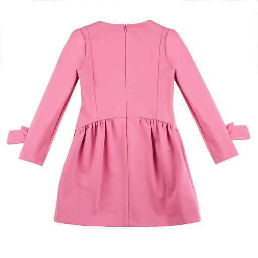 Simonetta - Girls Pink Long-Sleeved Dress with Bows - Kids clothing at BOYS & GIRLS ONLINE