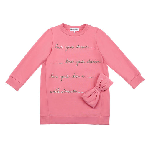 Girls Pink Long-Sleeved Fleece Dress