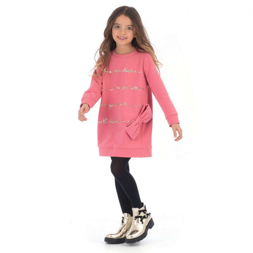 Simonetta - Girls Pink Long-Sleeved Fleece Dress - Kids clothing at BOYS & GIRLS ONLINE
