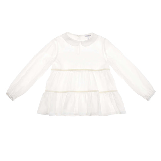 Simonetta Girls White Ruffled Tiered Crepe Shirt - Kids clothes online | BOYS & GIRLS ONLINE