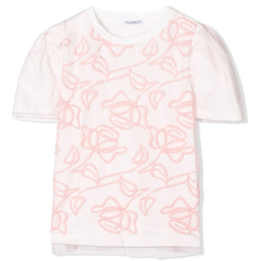 Simonetta - Girls White Floral Embroidered T-Shirt - Kids clothing at BOYS & GIRLS ONLINE