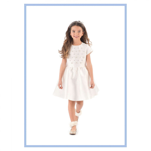 Girls White Short Sleeve Mikado Dress