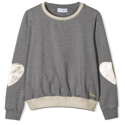 Simonetta Grey and Platinum Heart Details Sweatshirt - Kids clothes online | BOYS & GIRLS ONLINE