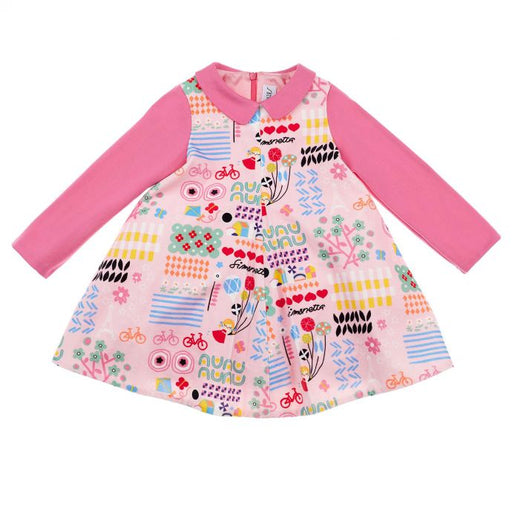 Simonetta - Pink Trapeze Dress in Printed Velvet - Kids clothing at BOYS & GIRLS ONLINE