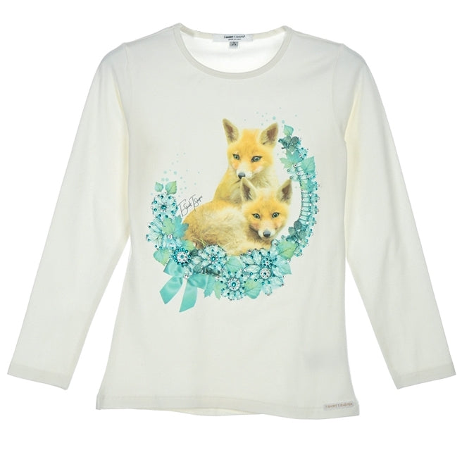 Girls White Foxes Crystal Top