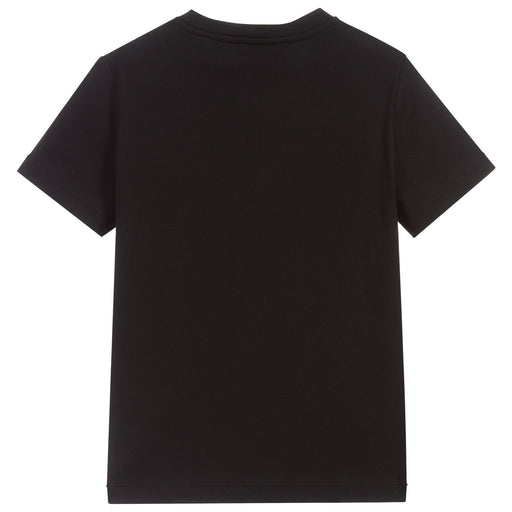 Versace Black and White Cotton Logo T-Shirt - Kids clothes online | BOYS & GIRLS ONLINE