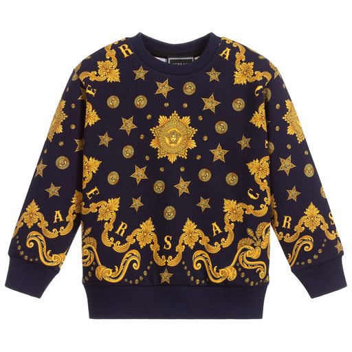 Versace Blue and Gold Barocco Western Sweatshirt - Kids clothes online | BOYS & GIRLS ONLINE