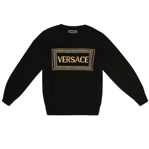 Versace Boys Black Cotton Logo Sweatshirt - Kids clothes online | BOYS & GIRLS ONLINE