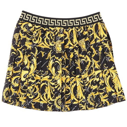 Versace Girls Black Baroque Cotton Skirt - Kids clothes online | BOYS & GIRLS ONLINE