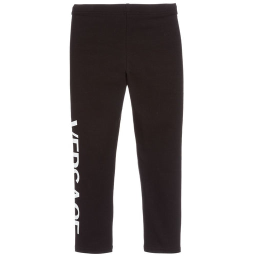 Girls Black Cotton Logo Leggings