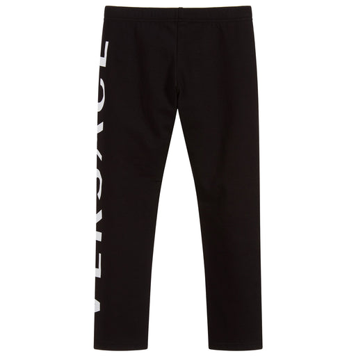 Versace Girls Black Cotton Logo Leggings - Kids clothes online | BOYS & GIRLS ONLINE