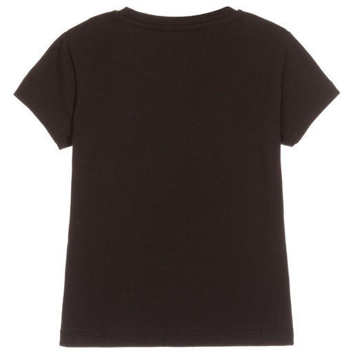 Girls Black Cotton Logo T-Shirt