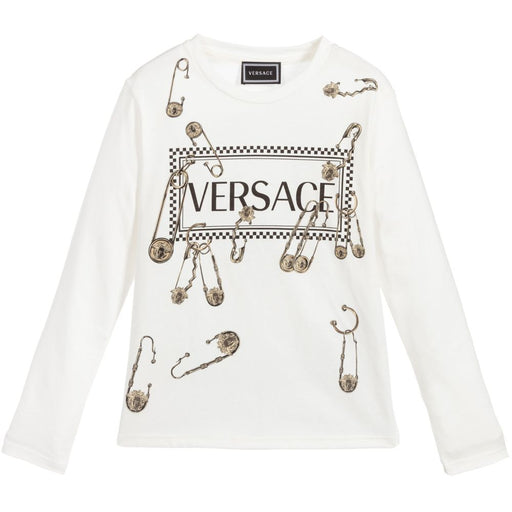 Versace Girls Ivory Medusa Head Pins Top - Kids clothes online | BOYS & GIRLS ONLINE