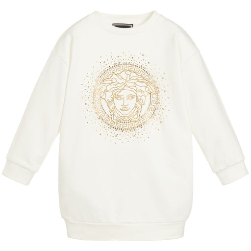 Girls Ivory Sweatshirt Dress with Medusa