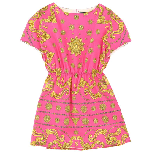 Versace Girls Pink Savage Barocco Print Dress - Kids clothes online | BOYS & GIRLS ONLINE