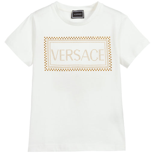 Versace Girls White Logo Gold Studs T-Shirt - Kids clothes online | BOYS & GIRLS ONLINE