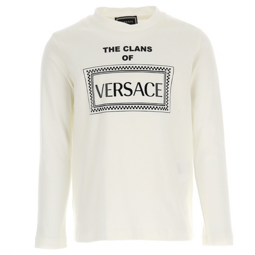 Versace Off-White Cotton Logo Top - Kids clothes online | BOYS & GIRLS ONLINE