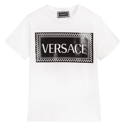 Versace White and Black Cotton Logo T-Shirt - Kids clothes online | BOYS & GIRLS ONLINE