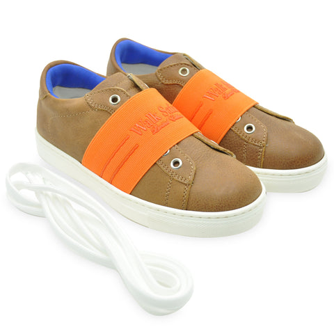 Brown Leather Slip-On Trainers