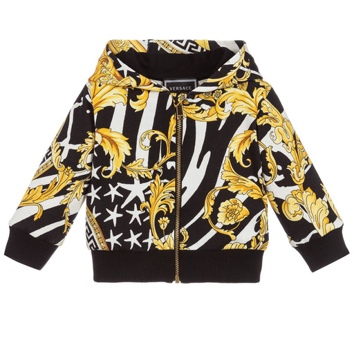 Young Versace - Black & Gold Baroque Cotton Zip-Up Top - Kids clothing at BOYS & GIRLS ONLINE
