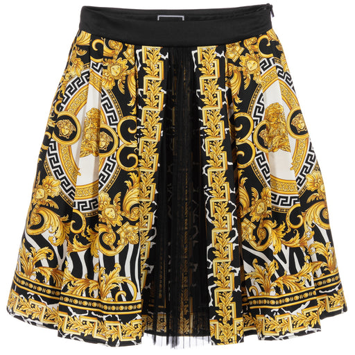 Versace Black and Gold Baroque Print Silk Skirt - Kids clothes online | BOYS & GIRLS ONLINE