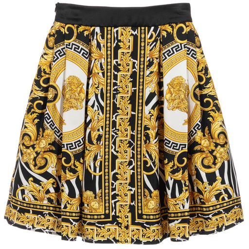 Young Versace - Black & Gold Baroque Print Silk Skirt - Kids clothing at BOYS & GIRLS ONLINE