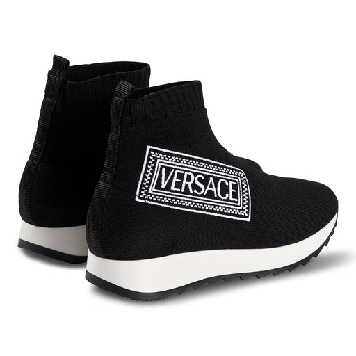 Young Versace - Black Logo Sock Trainers - Kids clothing at BOYS & GIRLS ONLINE