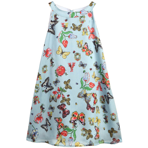 Versace Blue Butterfly Print Satin Dress - Kids clothes online | BOYS & GIRLS ONLINE