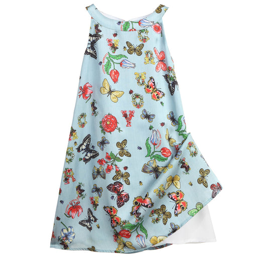 Blue Butterfly Print Satin Dress