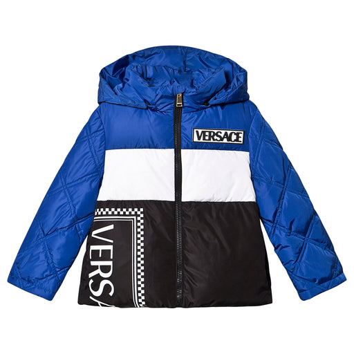 Versace Blue Logo Mix Print Puffer Jacket - Kids clothes online | BOYS & GIRLS ONLINE