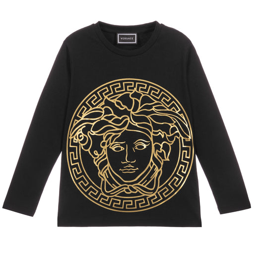 Young Versace - Boys Black Cotton Top Medusa Logo - Kids clothing at BOYS & GIRLS ONLINE