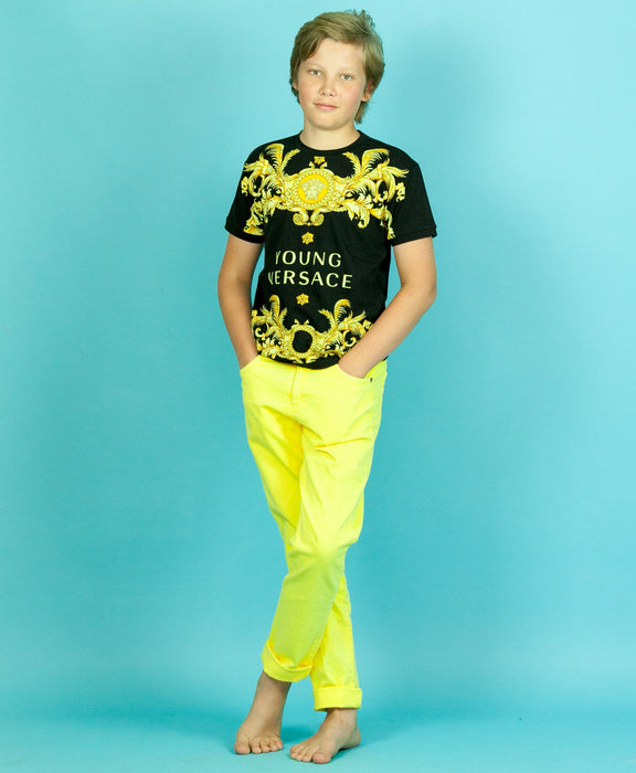 YOUNG VERSACE Boys Gold Filigree and Logo Print Tee at BOYS & GIRLS ONLINE