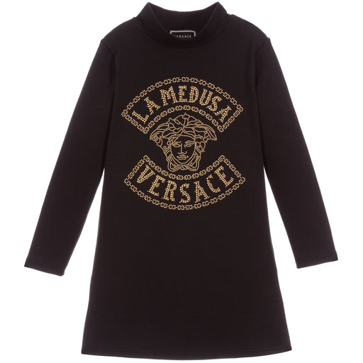 Versace Girls Black Cotton Dress La Medusa - Kids clothes online | BOYS & GIRLS ONLINE