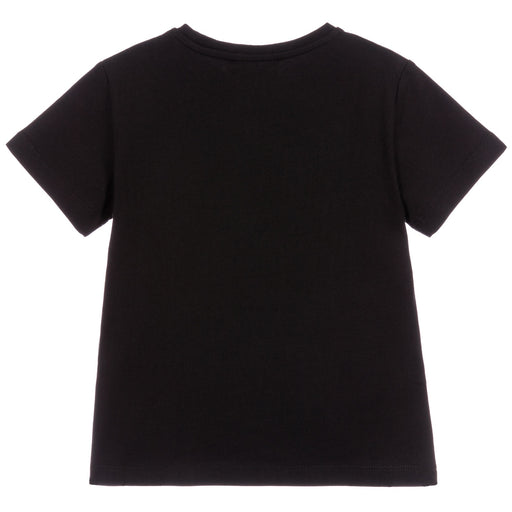 Young Versace - Girls Black Cotton Logo T-Shirt - Kids clothing at BOYS & GIRLS ONLINE